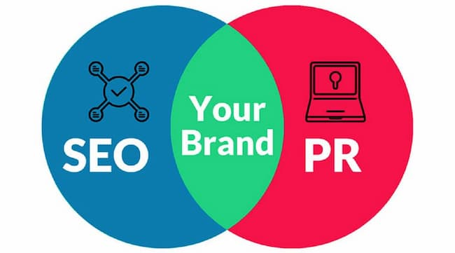 a pie diagram showing relation between SEO and PR