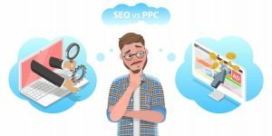 a bearded guy looks confused between seo and ppc
