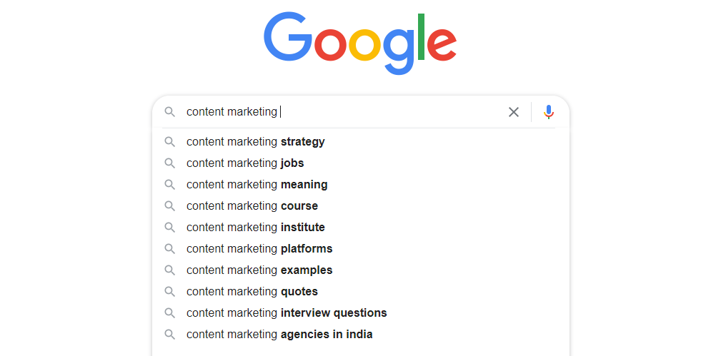 """Google search autocomplete for the keyword """"content marketing"""""""