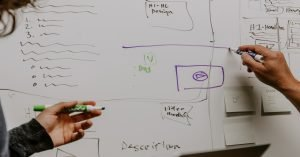 two people explaining search related concepts on a whiteboard